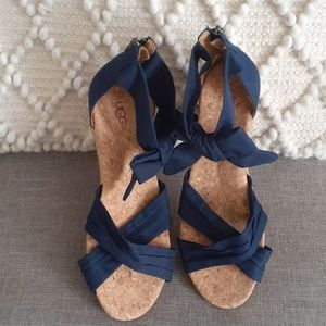 UGG Traci  blue open toe espadrilles size 10